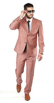 Slim Fit Men's Suit Salmon 2 Button Checkered Windowpane Plaid Peak Lapel AZAR