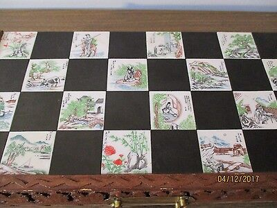 Chess Set vintage Japanese set with inlaid tiles and carved wooden piece China