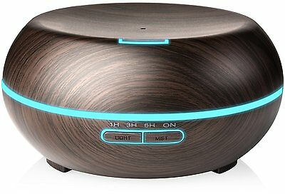 200ML Aromatherapy Essential Oil Diffuser Mist Humidifier Cool 7 LED Wood Grain
