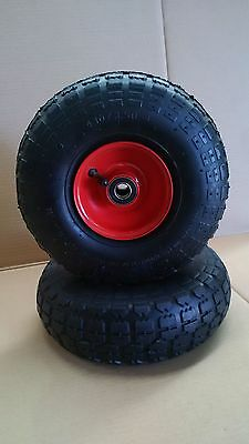 """2x Trolley Wheels 10"""" (3.50-4) pneumatic centred wheel with 20mm bearings"""