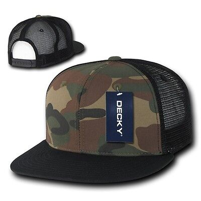 DECKY Camouflage FLAT Bill Trucker Hat 6 Panel Mesh Snapback Hats Camo Army Cap