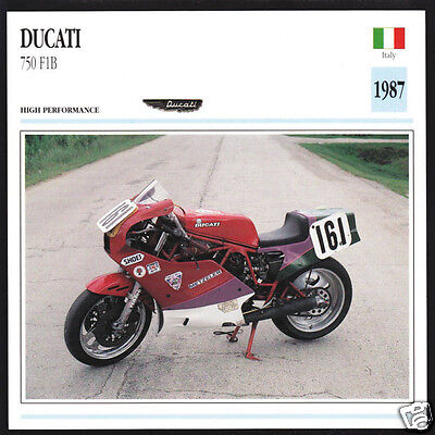 1987 Ducati 750cc F1B (748cc) Italy Race Motorcycle Photo Spec Sheet Info Card