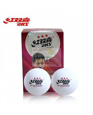 DHS 3 star 40+ Cell Free White Table Tennis Balls ITTF Approved (Pack of 6)