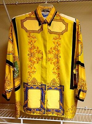 Gianni Versace Vintage Couture 100% Silk Women Long Sleeve Blouse Size 10 Medium