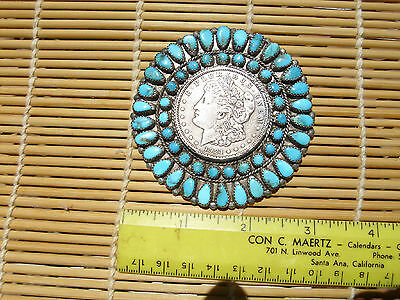 """Vintage Navajo Sterling Silver Turquoise Cluster Morgan $ .2 7/8"""""""" across."""
