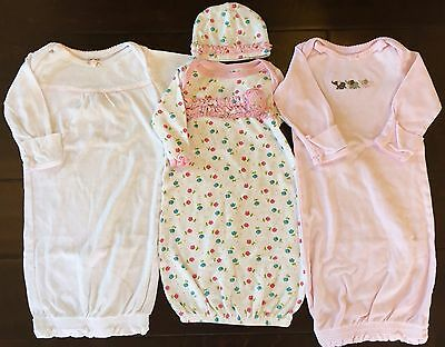 Carter's newborn nb baby girl sleeper gown pajamas hat clothes lot 0-3 months