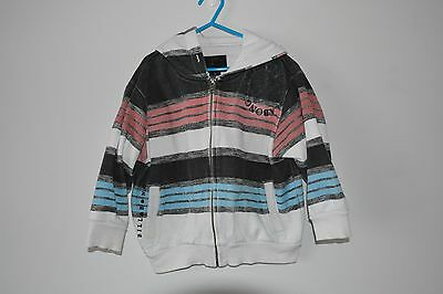 Billabong Cotton Knit Fleecy Jacket Boys Size 4 5 6 Red White Blue Hoodie