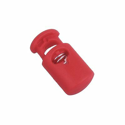 Flyshop Plastic Toggle Spring Stop Single Hole String Cord Locks 10 Pcs Red