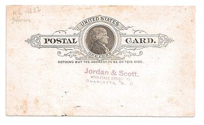 1887 USA Postal card Jordan and Scott Druggists advertising Hughes cotton sample