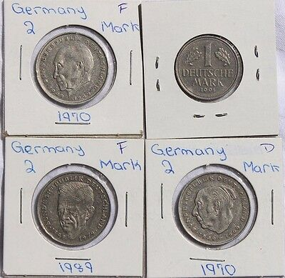 Germany Coin Lot - 1970, 1989, 1991 - 4 Coins - 1 & 2 Mark