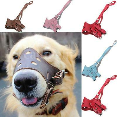 Dog Muzzle Pet Puppy Mouth Mask Leather Adjustable Safety Anti Biting UK SELLER