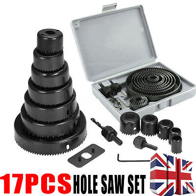 17Pc HOLE SAW CUTTER SET Round/Circular Drill Cutting Case Kit Metal/Alloy/Wood