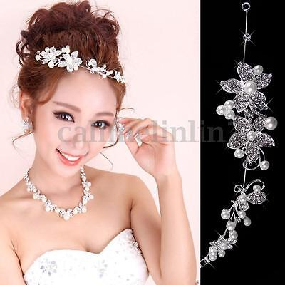Wedding Party Bridal Bridesmaid Headband Tiara Crystal Diamante Flower Pearl UK