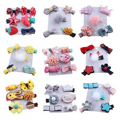 5-6PCS/set Hairpin Baby Girl Hair Clip Bow Flower Barrettes Kids Infant Headwear