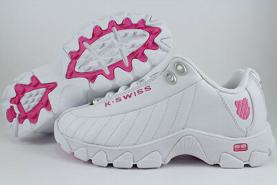 K-Swiss St329 Cmf White/shocking Pink Memory Foam Trainer Leather Us Women Sizes