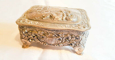 Vintage white metal trinket box relief pictorial French style casket