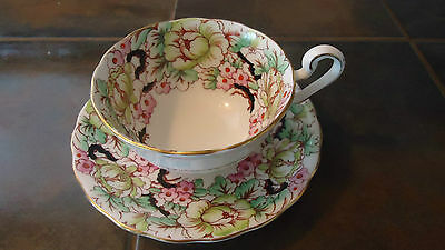Vintage Victoria C&E Bone China Hand Painted Peony Teacup and Saucer, England