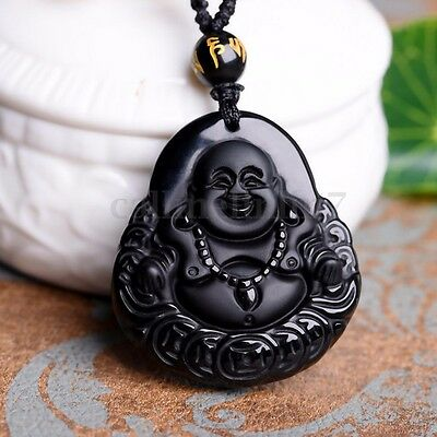 Natural Black Obsidian Hand-carved Coin Buddha Lucky Amulet Pendant Necklace UK