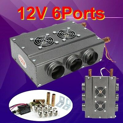 Car Underdash Double Side Compact Heater 12V Heat w/ Speed Switch - 6 Ports