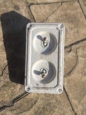 Vintage Industrial 2 Gang Crabtree Light Switch Bank