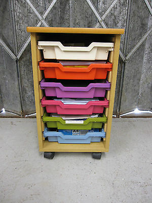 Wood Cabinet With Trays Different Color on Wheels