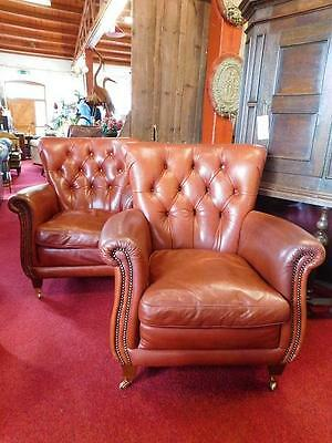 A Lovely Studded Tan Buttersoft Leather Club Armchair - Pair Available