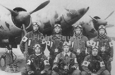WW2 Picture Photo Japan Pilots posing before a Ki-45 aircraft date unknown  1338