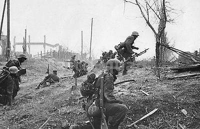 WW2 Picture Photo German soldiers advance outside Stalingrad late in 1942 1012