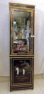 Mother Of Pearl / Black Lacquer Curio Display Cabinet