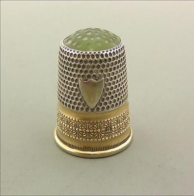 Antique Silver & 14K Gold Thimble With Green Stone Top Jade ?