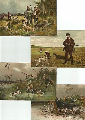 Lot 4 Cpa Chasse Chiens Canard Renard ...