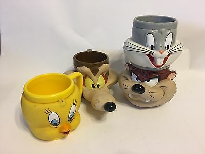 4 Warner Bros Looney Tunes Mugs - Tweety, Willie E, Bugs Bunny, Taz