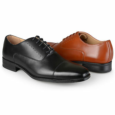 Territory Mens Cap Toe Lace-up Faux Leather Dress Shoes