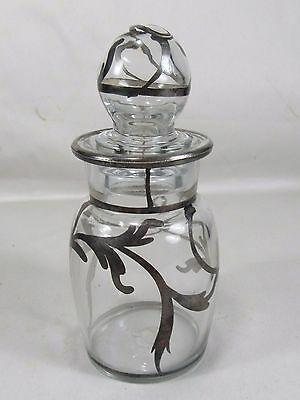Vintage Silver Overlay Glass Apothecary Jar Bottle,Perfume,Art Nouveau