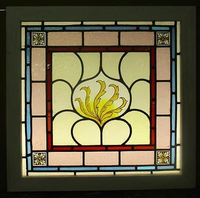 "VICTORIAN ENGLISH LEADED STAINED GLASS WINDOW Handpainted Leaves 24.75"" x 24"""