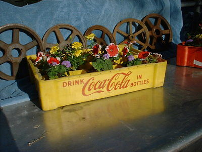 COCA COLA VINTAGE PLASTIC SODA CARRIER CRATE YELLOW Great in Garden 1960`s 70`s?