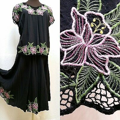 VINTAGE BLACK CUT WORK TOP AND SKIRT--Pink Floral Embroidery--Size S/M