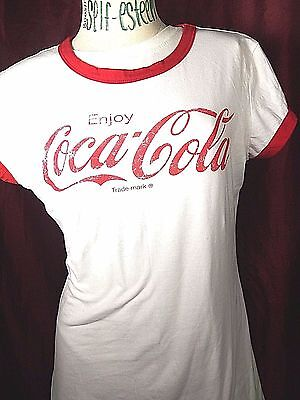 Coca Cola Vintage Style Coke Red faded white T Shirt Cotton Tee scrip XL
