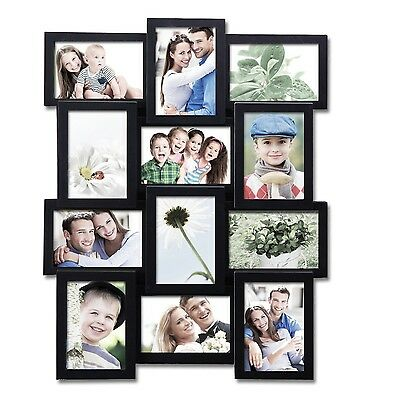 """Black Plastic Wall Hanging Collage Picture Photo Frame 12 Opening 4x6"""""""