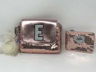"""Justice for Girls Purse Rose Gold Sequin Sparkle Initial """"E"""" with Wallet NWT!"""