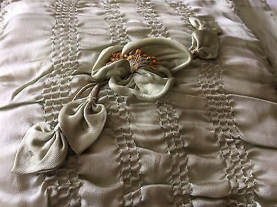 Antique Silk Pillow Shabby Boudoir Bedding Vintage 20s 30s Green Sage