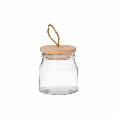 NEW Pantry Round Glass Canister w/ Wooden Lid 540ml