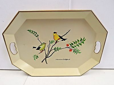 "Vintage Nashco Products American Goldfinch Bird Hand Painted Tray 20"" x 15"" I6"