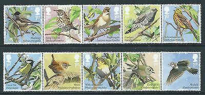 Great Britain 2017 Songbirds Set Of 10 In 2 Strips Unmounted Mint, Mnh