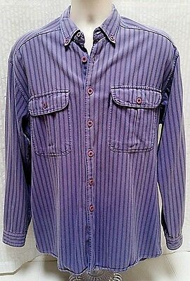 Levi's Blue Striped Distressed Heavy Duty Mens Shirt--Size M