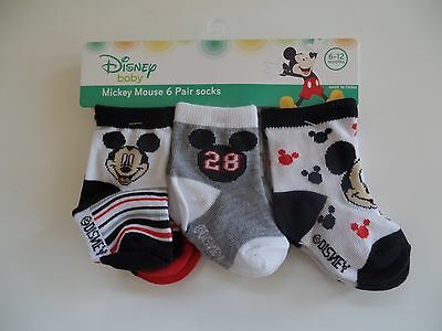 NWT Baby Socks Disney Mickey Mouse Red, Gray, and Black Print Set Of 6 Pairs Boy