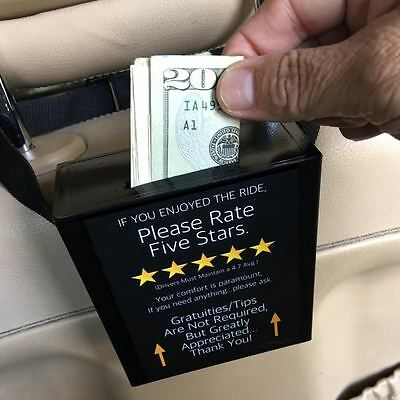 Uber/Lyft rideshare Tip Box Gratuity Box 5 star rating signage for Drivers