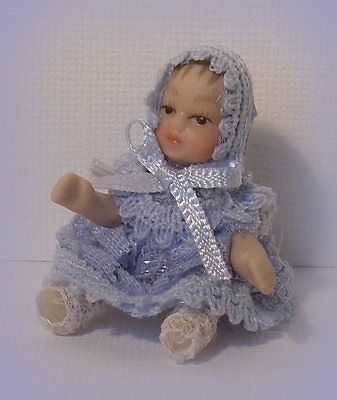Dolls house tiny Baby Boy porcelain doll~jointed ~1:12~nursery Accessory