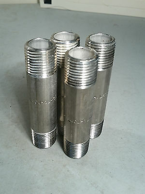 "Stainless Steel 304 Schd 40 1/2"" X 3-1/2"" Threaded Nipple Npt - Lot Of 4"