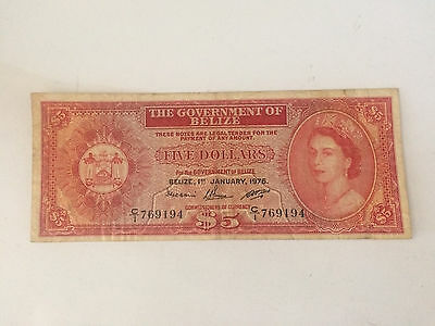 Belize Banknote 5 Dollars 1976 Circulated (Used) Free shipping